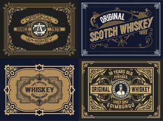 Set Whiskey labes. vector