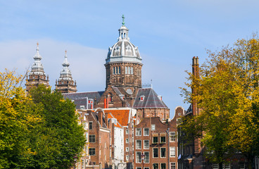 The view of Amsterdam old town , Netherlands