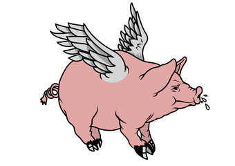 A flying pig in landscape orientation