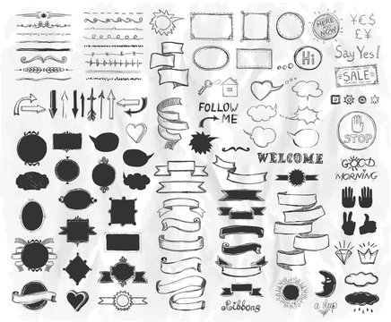 Hand drawn sketch elements on a paper, vector  illustration, doodle graphic line elements, vintage style ribbons, frames, dividers, brushes, silhouettes and phrases