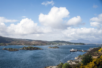 Isle of Sky Scotland UK Panorama View Sea bridge