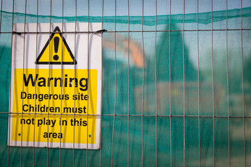 Warning sign on the building site