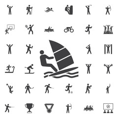 Windsurfing Icon Vector Illustration on the white background.