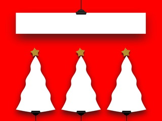 Four blank Christmas frames on red background