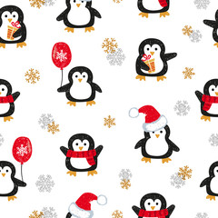 Cute Christmas penguins seamless pattern. Vector holiday background.