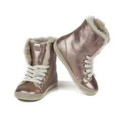 girls' winter boots isolated on white background