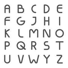 Alphabet letter line style modern. Vector abc font trendy.