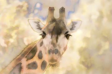 Watercolor animal, giraffe portrait