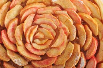 background of toppings Apple cinnamon pie