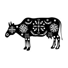 Silhouette cows ornament traditional ancient peoples of India, A