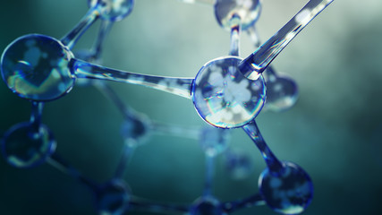 3d illustration of molecule model. Science background with molecules