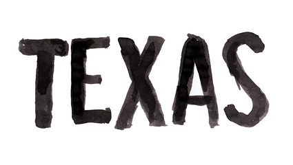 Simple grunge brush lettering with word Texas