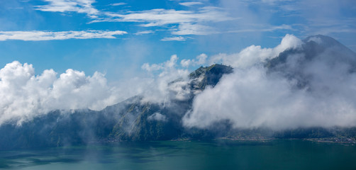 indonesian Volcano Agung in Bali island. Mountain landscape in t