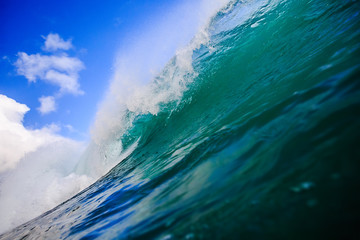 Ocean Background Big Shorebreak Wave for Surfing. Hawaiian swell for sport activity. Power and Energy Of Nature