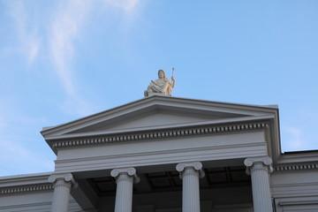 Zeus sculpture on the roof of the Kollegiengebäude in Schwerin, Mecklenburg Vorprommern Germany