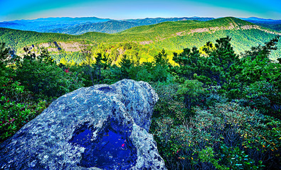 Wall Mural - Hawksbill Mountain at Linville gorge with Table Rock Mountain la