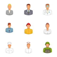 Profession icons set. Cartoon illustration of 9 profession vector icons for web