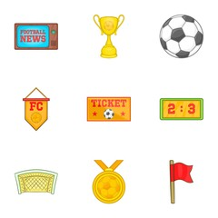 Soccer icons set. Cartoon illustration of 9 soccer vector icons for web