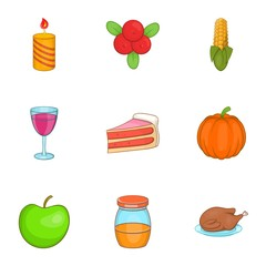 Thanksgiving day icons set. Cartoon illustration of 9 thanksgiving day vector icons for web