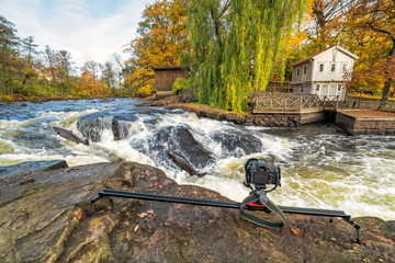 Photography scenery for jumping sea trouts on Morrum river