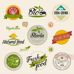 Stevia and Organic food label Set. Farm Fresh label and Logo element. Organic,bio,ecology natural design template. Easy editable for Your design. Retro logotype icon.