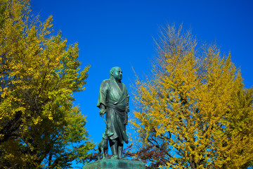 上野 西郷隆盛像と黄葉