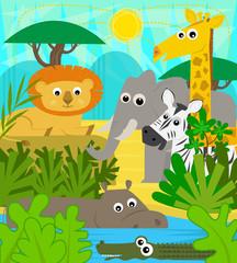 Safari Animals - Cute cartoon baby animals at the safari. Eps10