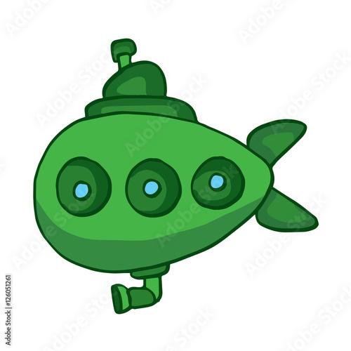 quotgreen submarine underwater cartoon designquot stock image
