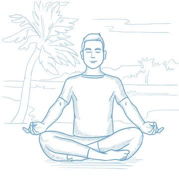 Man meditating in lotus pose vector illustration.