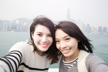 beauty woman selfie in hongkong