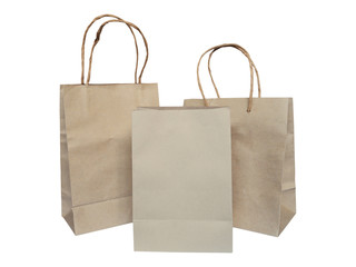 Set of recycled brown shopping bags isolated on white background