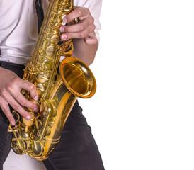 Men playing saxophone.