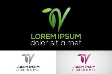 leaf letter V logo design