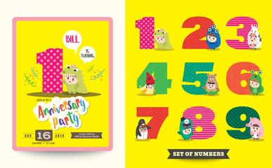 one year anniversary kids birthday celebration template