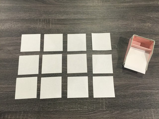 blank post it notes on the desk