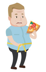 Man measuring waistline vector illustration.