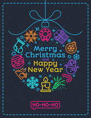 Christmas greeting card color style with christmas ball consisting of christmas line icons and wish Merry Christmas Happy New Year ho ho ho on snow holiday background. Christmas decoration element