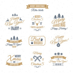 Christmas labels elements vector set gold color style with santa and deer, christmas ball, snowflake, gift, sweet on holiday background. Christmas emblem. Happy New Year. Christmas decoration element