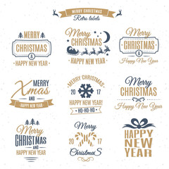 Christmas emblem elements vector set gold color style with santa and deer, christmas ball, snowflake, gift, sweet on holiday background. Christmas labels . Happy New Year. Christmas decoration element
