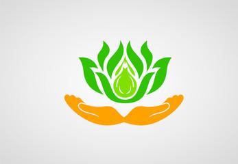 Leaf in hand logo