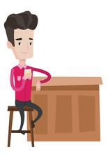 Man sitting at the bar counter vector illustration