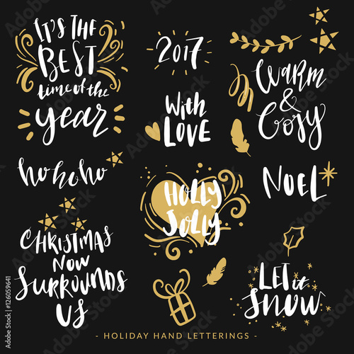 Quot hand drawn holiday lettering christmas quotes modern