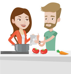 Couple cooking healthy vegetable meal.