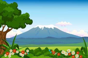 beautiful landscape with flower garden