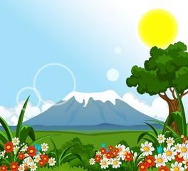 beautiful summer landscape with flower garden