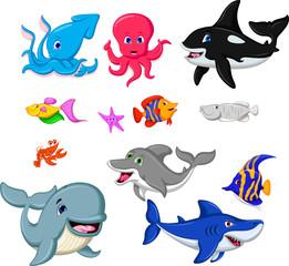 collection of sea life cartoon