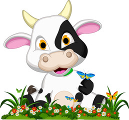 funny cow cartoon posing in flower garden