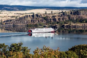 Cargo ship paddling upriver