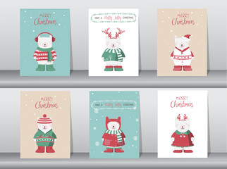 Set of cute Merry christmas  background with cute bear and winter clothes, Vector illustrations