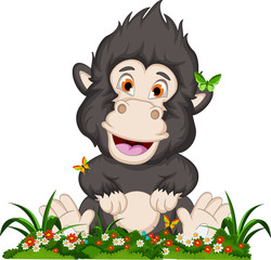 funny gorilla cartoon with flower garden